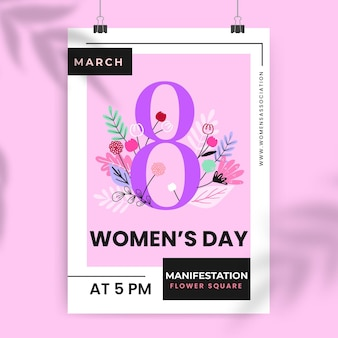 Affiche de la journée des femmes colorées florales