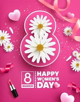 Affiche de la journée des femmes du 8 mars avec fleur, coeurs doux, rubans et rouge à lèvres sur rose