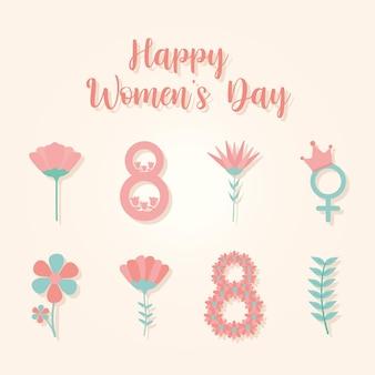 Affiche de la journée des femmes heureux et ensemble d'icônes de la journée des femmes