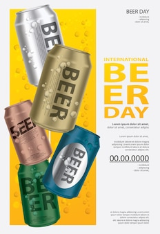 Affiche journée internationale de la bière template design illustration
