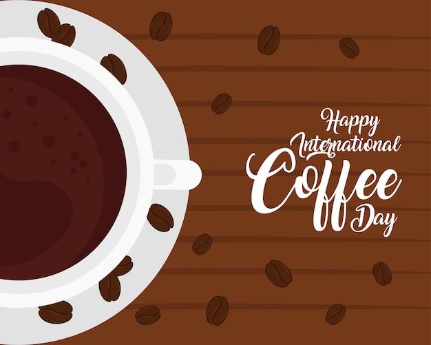 Affiche de la journée internationale du café, 1 octobre, avec vue aérienne de tasse de café dans la conception d'illustration en bois