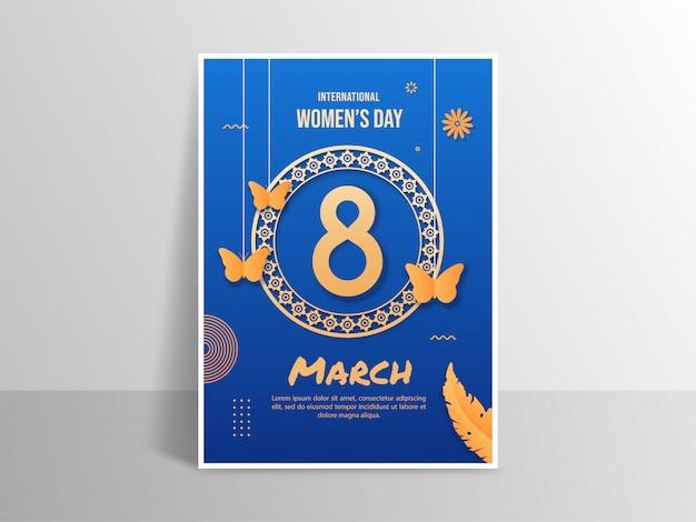 Affiche de la journée internationale de la femme dans un style papier découpé