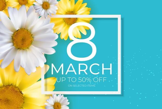 Affiche journée internationale de la femme heureuse 8 mars bannière de vente de cartes de voeux
