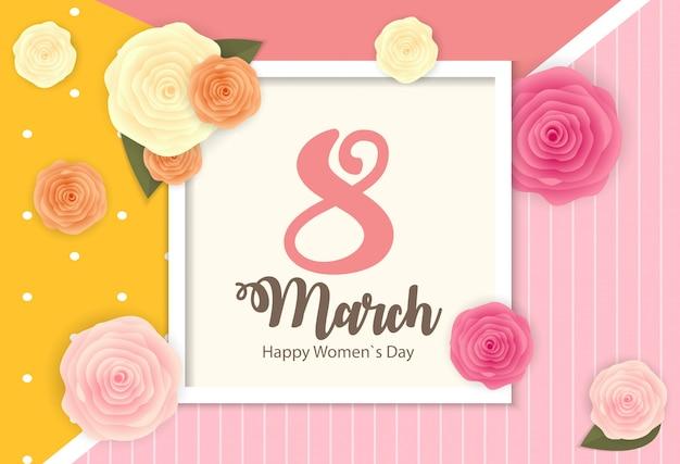 Affiche la journée internationale des femmes heureuse le 8 mars, carte de voeux florale