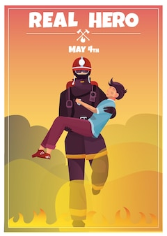 Affiche de la journée internationale des pompiers
