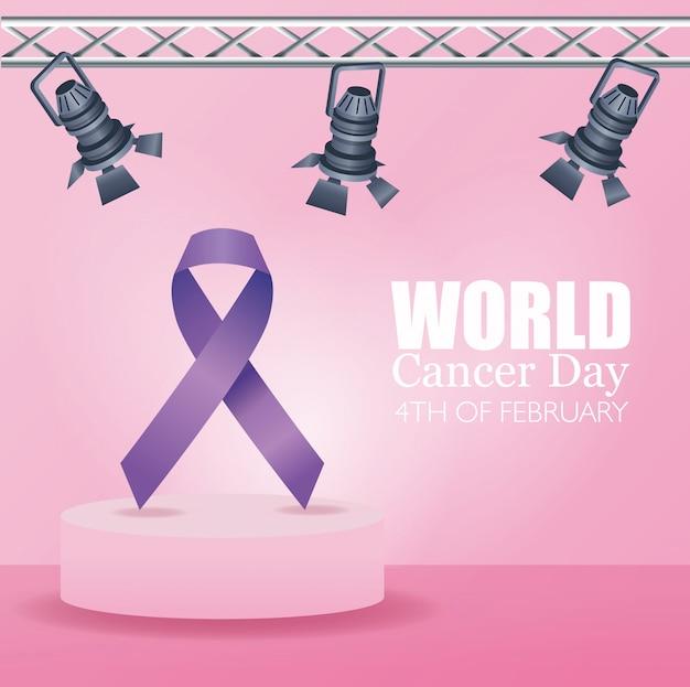 Affiche de la journée mondiale contre le cancer avec ruban et lampes