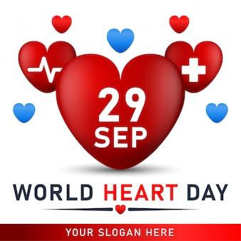 Affiche de la journée mondiale du cœur. bannière web avec coeur rouge.