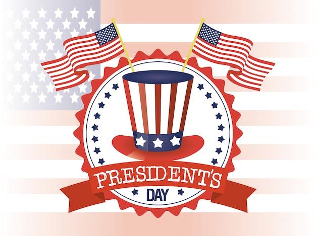 Affiche de la journée des présidents heureux avec tophat et drapeau américain