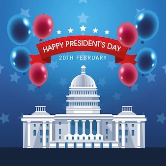 Affiche de la journée des présidents avec usa capitol et ballons hélium