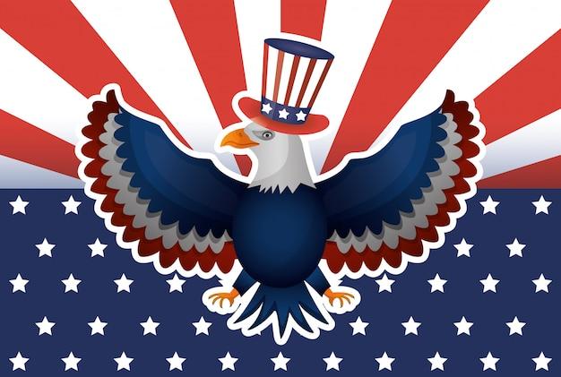 Affiche de la journée des présidents avec usa tophat et aigle