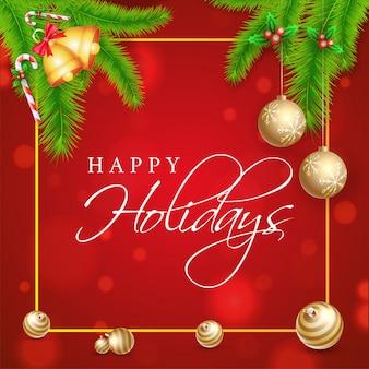 Affiche de joyeuses fêtes ou un modèle avec des feuilles de pin, jingle bell, baies de houx et babioles décorées sur bokeh rouge.