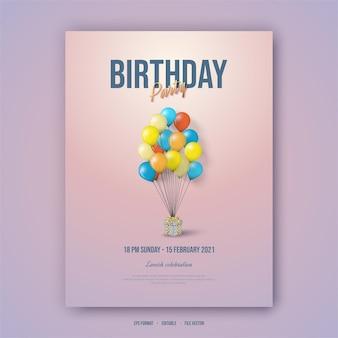 Affiche de joyeux anniversaire avec des ballons colorés.