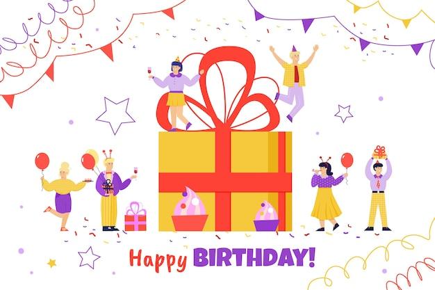 Affiche de joyeux anniversaire avec des gens de dessin animé célébrant autour d'une boîte cadeau géante.
