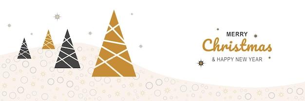 Affiche de joyeux noël et nouvel an 2022 bannière minimale de noël avec des arbres festifs abstraits