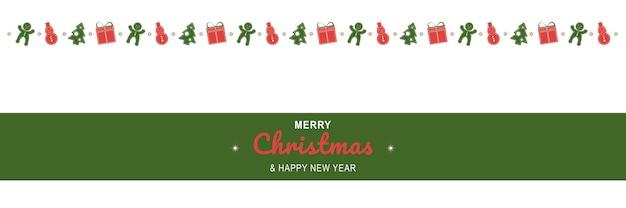 Affiche de joyeux noël et nouvel an 2022 bannière minimale de noël avec bordure de symboles de vacances
