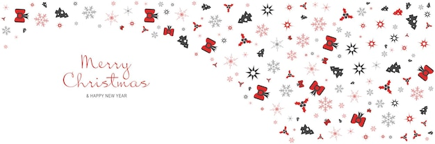 Affiche de joyeux noël et nouvel an 2022 bannière minimale de noël avec des étoiles de flocons de neige d'arbres