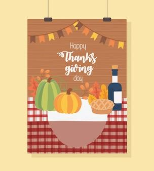 Affiche de joyeux thanksgiving de nappe de bouteille de vin de gâteau de citrouille