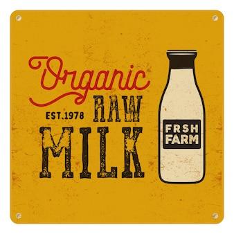 Affiche de lait cru biologique. design classique rétro