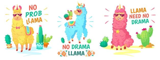 Affiche de lama. pas de lama dramatique et pas de lama prob