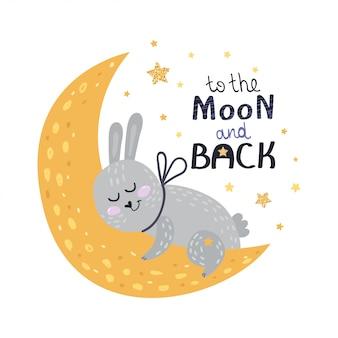 Affiche avec lapin, étoiles et lettrage.