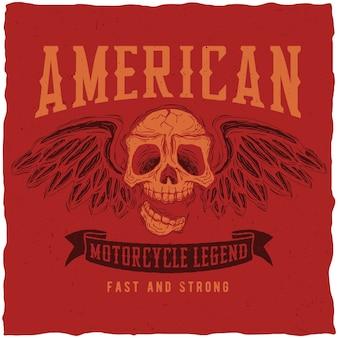 Affiche de légende de la moto américaine