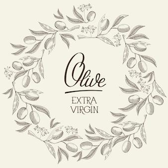 Affiche légère de croquis naturel abstrait avec texte et couronne ronde de branches d'olivier dans un style vintage