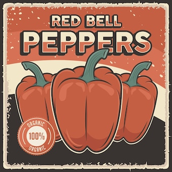 Affiche de légumes de poivrons rouges vintage rétro