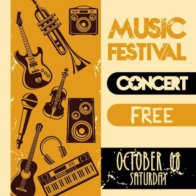 Affiche de lettrage de festival de musique avec des instruments de jeu