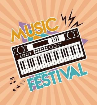 Affiche de lettrage de festival de musique avec piano électronique