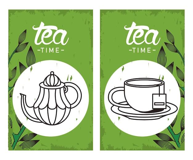 Affiche de lettrage de l'heure du thé avec théière et tasse dans des cadres carrés