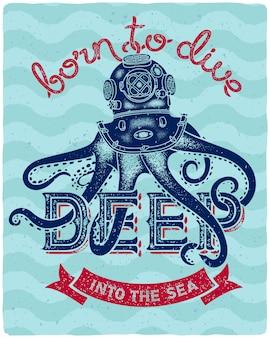 Affiche de lettrage avec illustration de poulpe