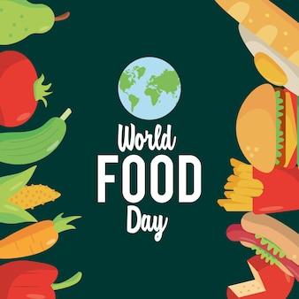 Affiche de lettrage de la journée mondiale de l'alimentation avec cadre de nourriture et conception d'illustration de planète terre