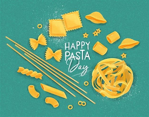 Affiche lettrage joyeux jour des pâtes avec de nombreux types de macaronis dessinant sur fond turquoise.