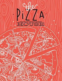 Affiche lettrage de la maison de pizza, dessin avec des lignes grises sur fond corail