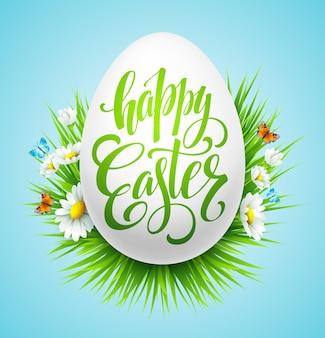 Affiche de lettrage de pâques avec fleur de printemps. illustration vectorielle eps10