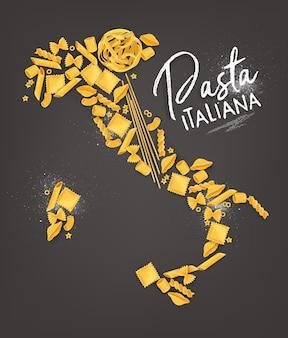 Affiche de lettrage de pâtes italiennes avec dessin de carte de macaronis sur fond gris.