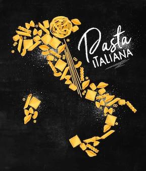 Affiche de lettrage de pâtes italiennes avec dessin de carte de macaronis sur fond de tableau.