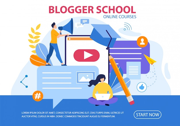 Affiche en ligne des cours en ligne sur l'école de blogger flat