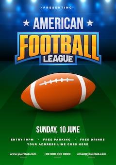 Affiche de ligue de football américain, conception de bannière ou de flyer, terrain de football comme toile de fond.
