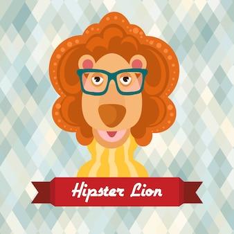 Affiche lion hipster