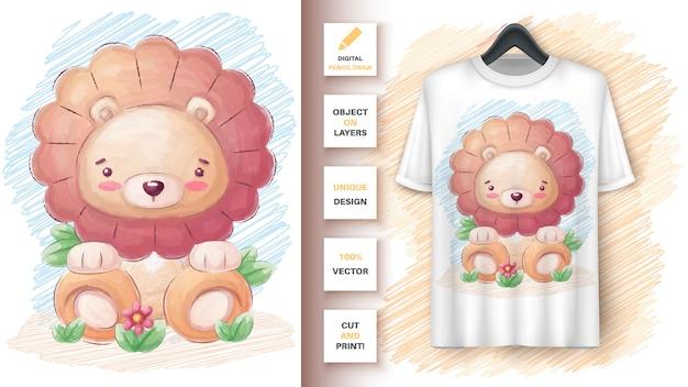Affiche de lion mignon et merchandising