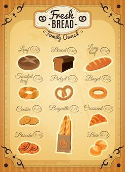 Affiche de liste de prix de boulangerie de style vintage