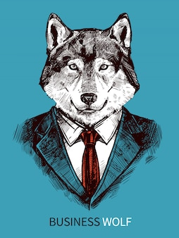 Affiche de loup d'affaires dessiné à la main