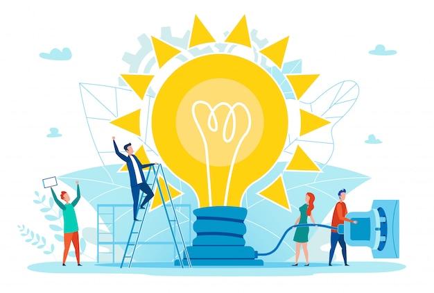Affiche lumineuse idée réussie fonctionne plat de dessin animé.