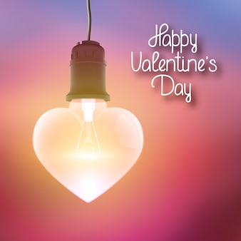 Affiche lumineuse avec inscription de voeux et ampoule rougeoyante suspendue réaliste en forme d'illustration vectorielle coeur