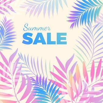 Affiche lumineuse de vente d'été dans des couleurs bleu-rose avec des feuilles de palmier tropical sur fond. carte de voeux vectorielle pour la baisse des prix saisonniers.