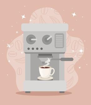 Affiche avec machine à café icône illustration design