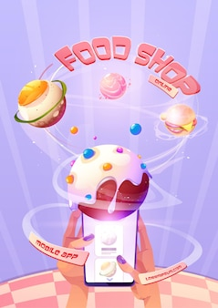 Affiche de magasin d'alimentation en ligne