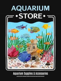 Affiche de magasin d'aquarium