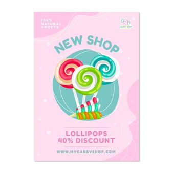 Affiche de magasin de bonbons avec des bonbons
